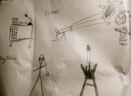 Felix's illustration of scientists at work.