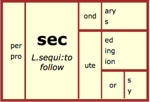 The bound base  from Latin sequi: to follow
